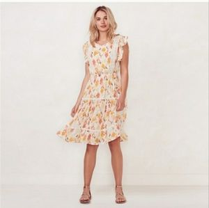 Lauren Conrad Orange/Yellow Floral Sping Dress S